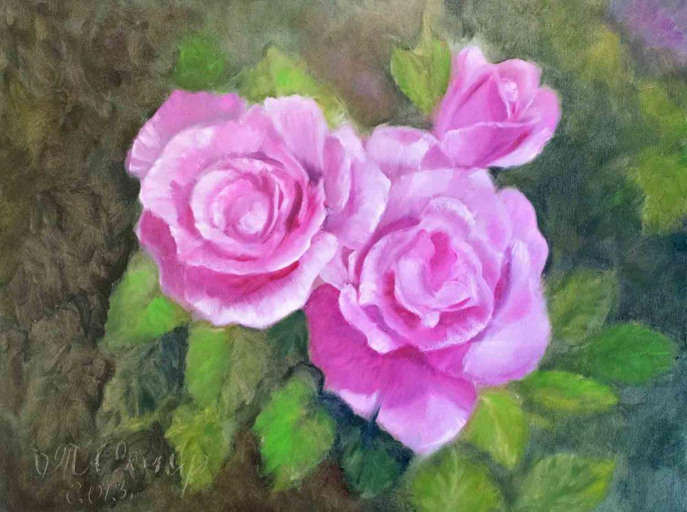 Картина с цветами розы