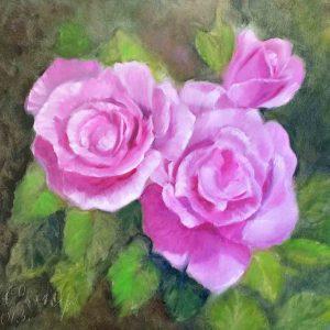 Купить картину маслом для интерьера_Картина с цветами розы