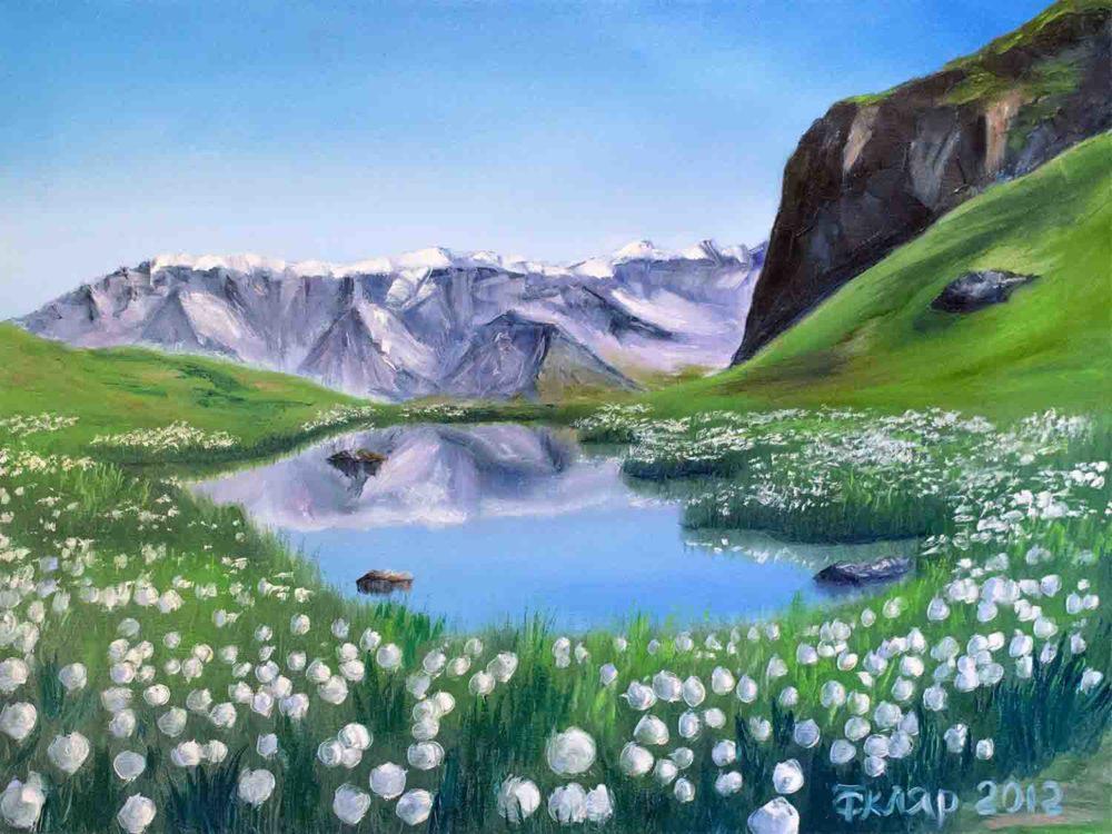 Пейзаж для интерьера горы, озеро