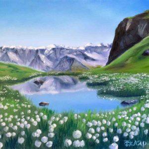 Купить картину маслом для интерьера_Пейзаж для интерьера горы, озеро