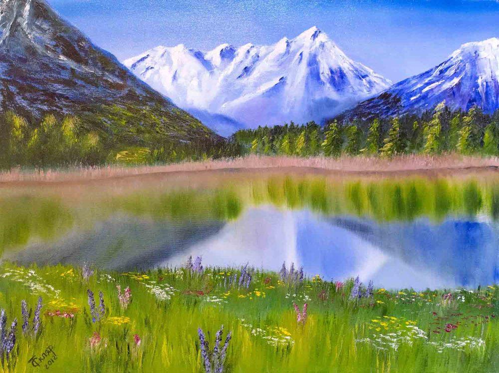 Купить картину маслом для интерьера_горный Пейзаж маслом, Лето, горы, луг