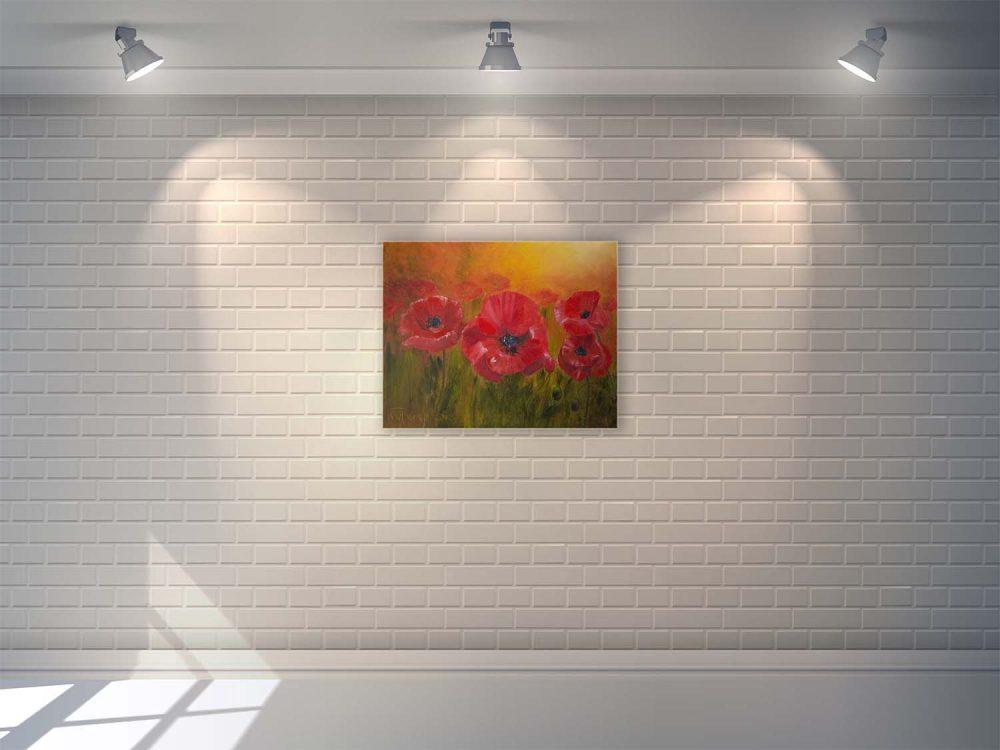 Маки, цветы на стене