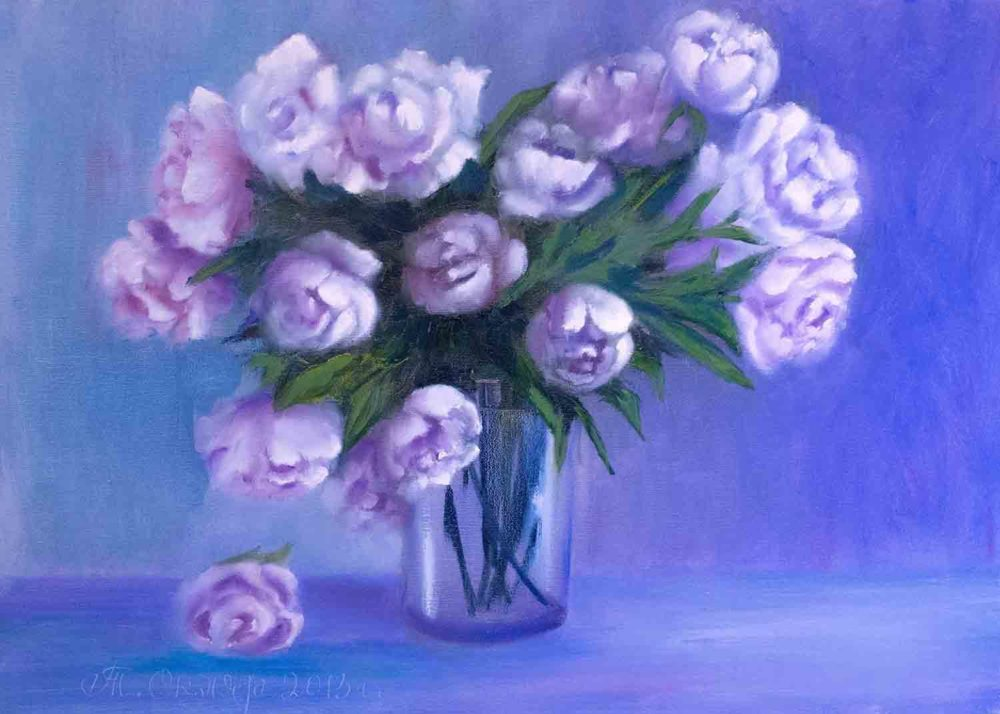 Купить картину маслом для интерьера_Цветы, пионы