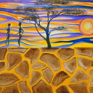 Купить картину маслом для интерьера_Африка, дерево, люди