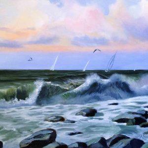 Купить картину маслом для интерьера_Морской пейзаж