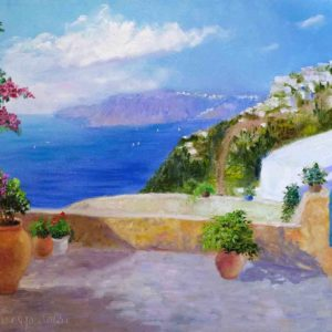 Купить картину маслом для интерьера_Средиземноморский пейзаж