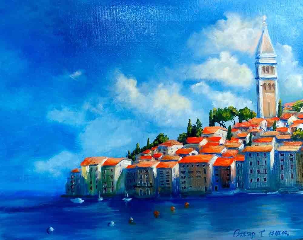 Купить картину маслом для интерьера_Картина Хорватия