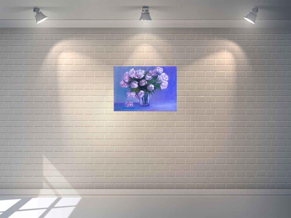 Купить картину маслом для интерьера_картина пионы на стене