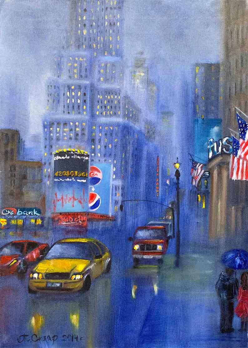 Купить картину маслом для интерьера_Дождливый вечер в Нью-Йорке картина