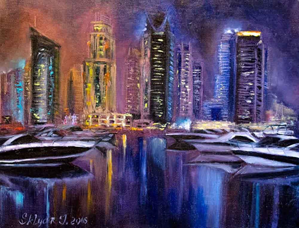 Дубаи Марина_ Dubai Marina_купить картину маслом