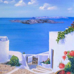 Купить картину маслом на холсте Санторини Греция